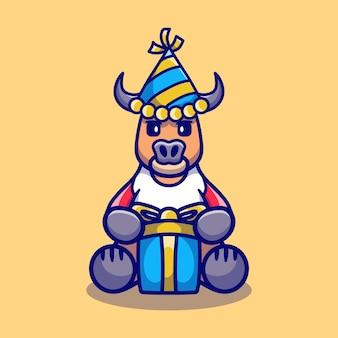 Милый буйвол в шляпе и подарок на день рождения