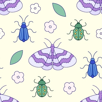Cute bugs and butterfly in seamless pattern. flat vector illustration. texture for print, fabric, textile, wallpaper.