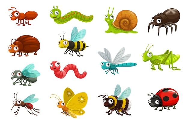 Cute bugs and insects cartoon characters.