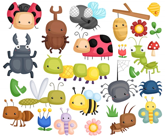 Cute bugs vector set