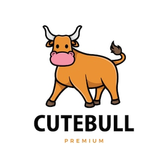 Милый бык мультфильм логотип значок иллюстрации