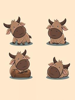 Милый бык мультфильм набор в рисованной