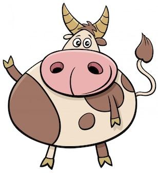Милый бык ферма животных комический персонаж иллюстрации шаржа