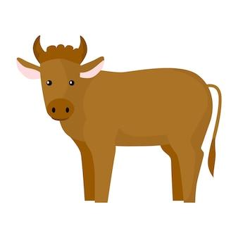 귀여운 황소 흰색 배경에 고립입니다. 재미있는 만화 캐릭터 농장 갈색 색상입니다. 모든 목적을 위한 평평한 동물 디자인. 벡터 일러스트 레이 션.