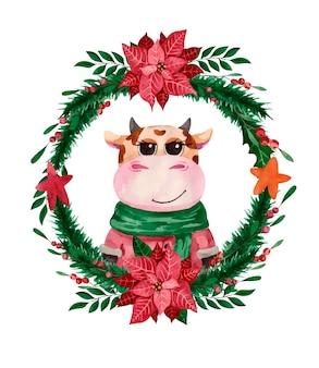 Милый бык сидит в рождественском венке пуансеттии, символе года