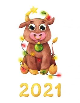 Милый бык сидит с елочными украшениями и новым годом 2021