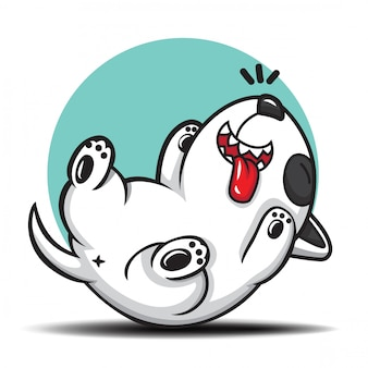 Cute bull terrier cartoon., cute pet cartoon.
