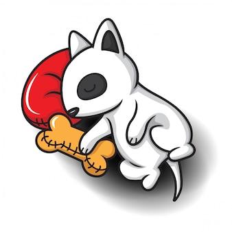 Cute bull terrier cartoon., cute pet cartoon.