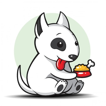 Cute bull terrier cartoon illustration