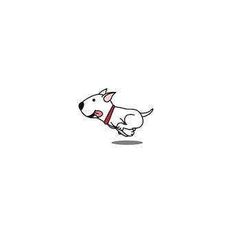 Cute bull terrier dog running