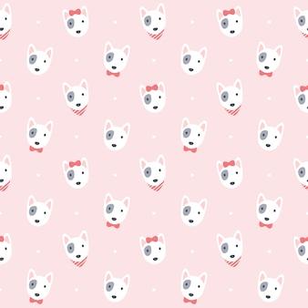Cute bull terrier dog seamless   pattern