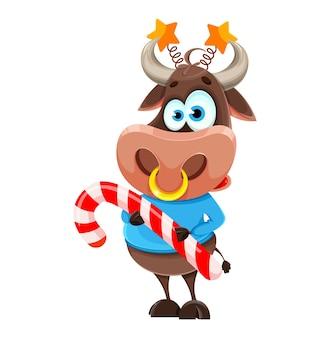 旧正月のシンボル、かわいい雄牛