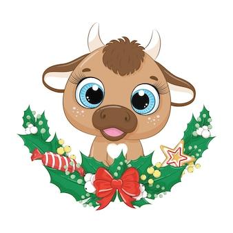 Милый бык с рождественским венком.