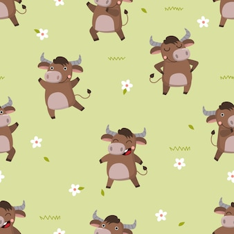 Cute bull with flower seamless pattern.