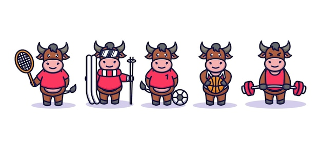 Cute bull with sport costume