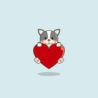 大きな心を抱き締めるかわいいブルドッグ。バレンタインデーの動物フラット漫画スタイル。