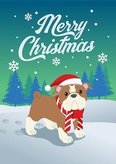 クリスマスのかわいいブルドッグ