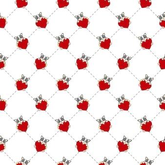 かわいいブルドッグのシームレスなパターン。心の犬。バレンタインのテーマの動物の背景。フラット漫画スタイル。