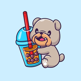 Cute bulldog with boba milk tea cartoon vector icon illustration. animal drink icon concept isolated premium vector. flat cartoon style