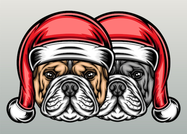 Cute bulldog with christmas hat in hand drawn
