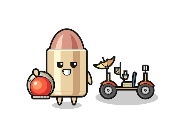 The cute bullet as astronaut with a lunar rover , cute style design for t shirt, sticker, logo element