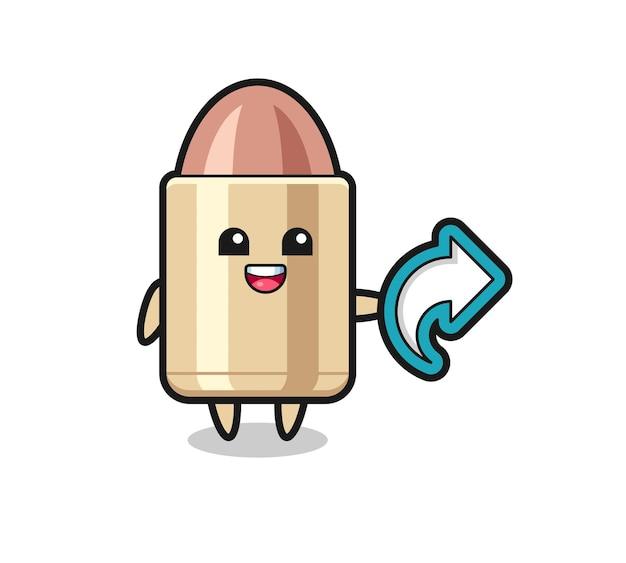 Cute bullet hold social media share symbol , cute style design for t shirt, sticker, logo element