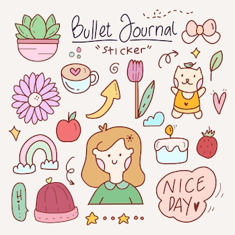 Cute bullet journal doodle drawing sticker set abstract