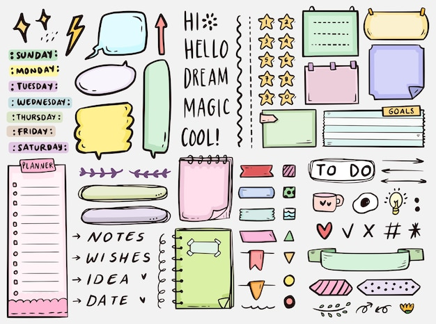 Cute bullet journal notes to do list drawing doodle collection