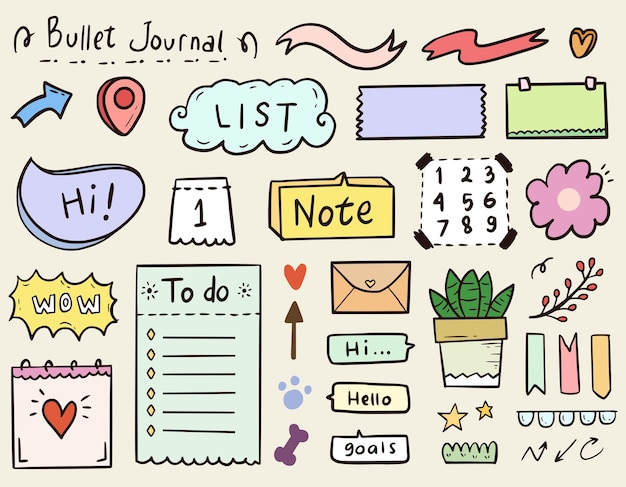 Cute bullet journal notes paper and ornament collection set in colorful style
