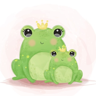 Cute bullfrog motherhood illustration in watercolor
