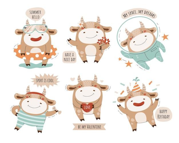Cute bulls. set of characters.