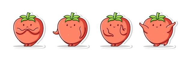 Cute bundle cartoon of tomato