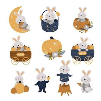 귀여운 토끼, 가을 세트. 당신의 디자인을 위한 옷, 접시, 직물 또는 엽서를 위한 토끼 인쇄. 벡터 일러스트 레이 션 eps10입니다.