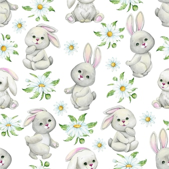 Cute bunnies, chamomile flowers, leaves, in cartoon style on an isolated background. watercolor seamless pattern.
