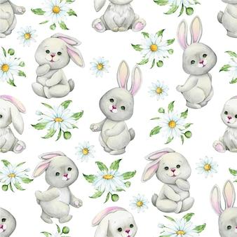 かわいいウサギ、カモミールの花、葉、孤立した背景に漫画のスタイルで。水彩のシームレスなパターン。