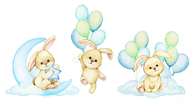 Cute bunnies clouds moon balloons watercolor set cliparts on an isolated background
