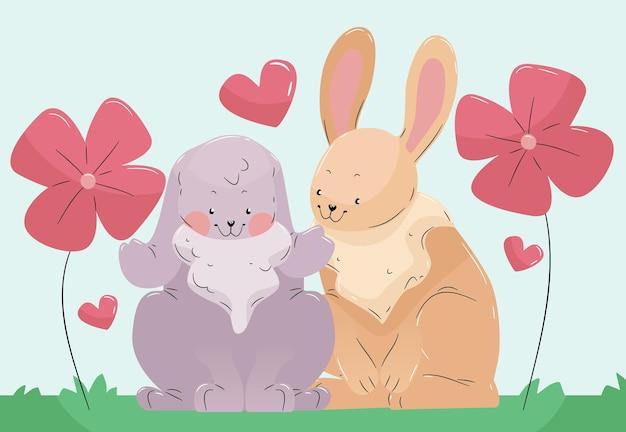 図解かわいいウサギのカップル