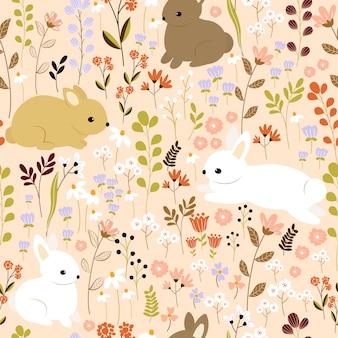 庭のシームレスなパターンでかわいいウサギ。子供たちのシームレスなパターンデザイン。