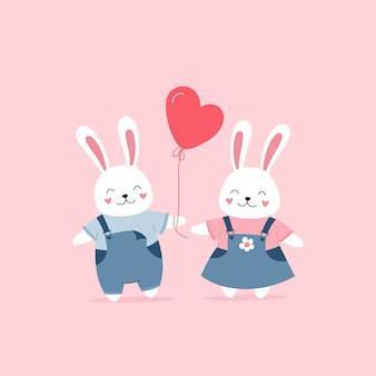 Cute bunnies in love, valentine's day gift.
