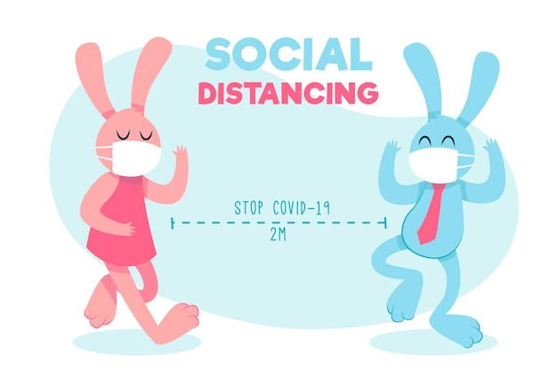 Cute bunnies practicing social distancing