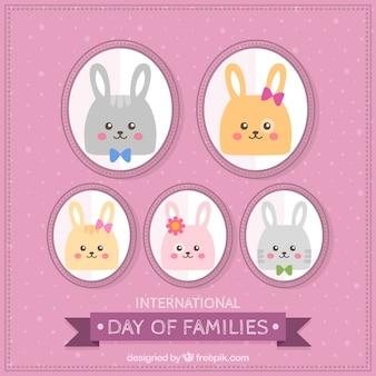 家族の国際日を祝うためのかわいいウサギ