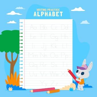 귀여운 토끼 알파벳 추적 템플릿