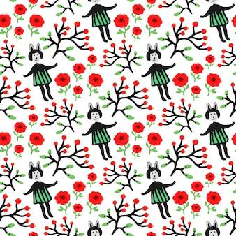 귀여운 토끼와 꽃 원활한 패턴입니다. 여자 토끼, 꽃, 가지 witn 열매와 벡터 손으로 그린 원활한 텍스처