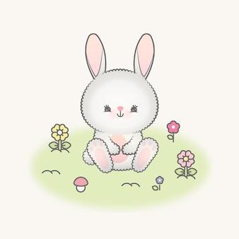 Милый кролик и цветы