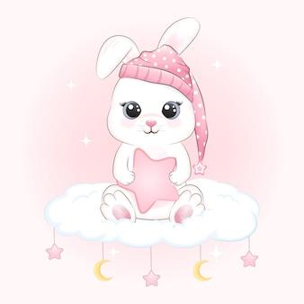 귀여운 토끼와 구름에 별