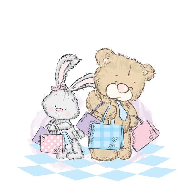 Милый зайчик и плюшевый мишка с покупками