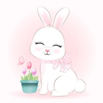 蝶と植木鉢のかわいいウサギとチューリップの花