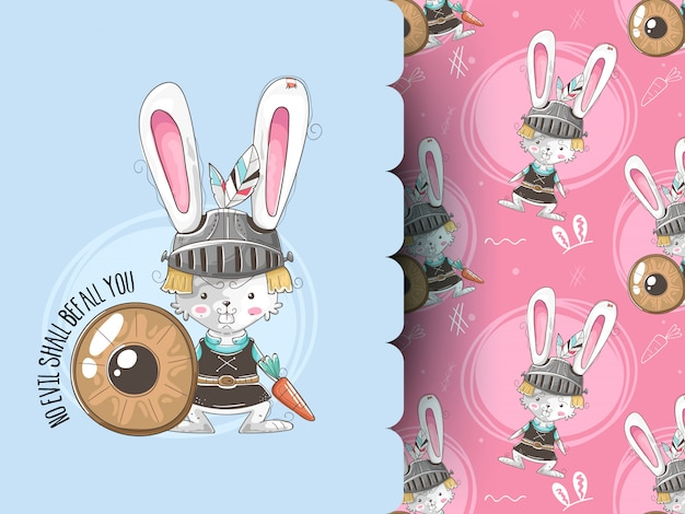 Cute bunny in armor and pattern background