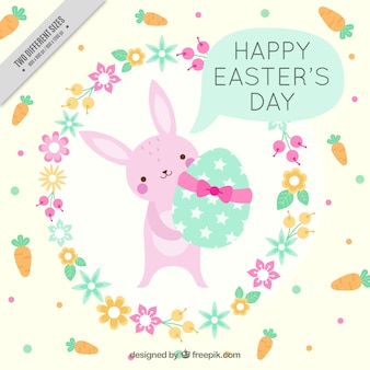 Cute bunny background with easter egg and floral wreath