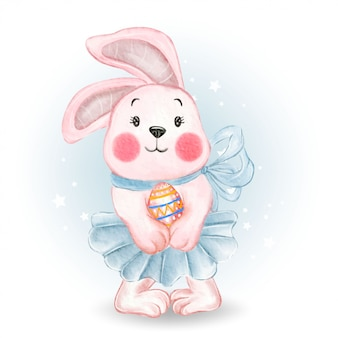 Cute bunny ballerina with easter egg   watercolor illustration